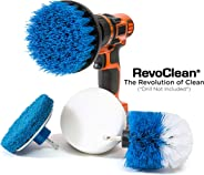 RevoClean 4 Piece Scrub Brush Power Drill Attachments-All Purpose Time Saving Kit-Perfect for Cleaning Grout, Tile, Counter,