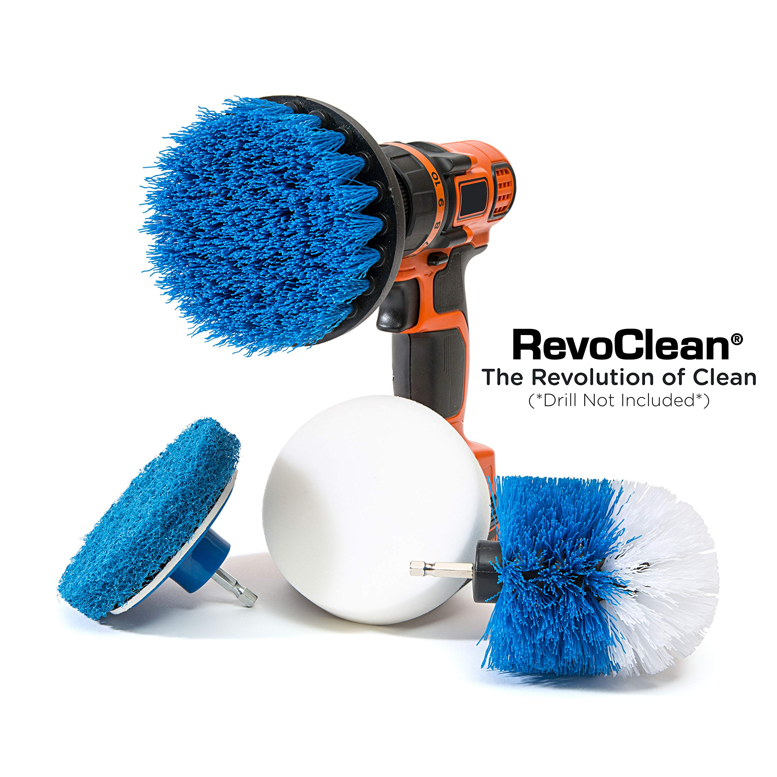 RevoClean 4 Piece Scrub Brush Power Drill Attachments-All Purpose Time Saving Kit-Perfect for Cleaning Grout, Tile, Counter, Shower, Grill, Floor, Kitchen, Blue & White by RevoClean