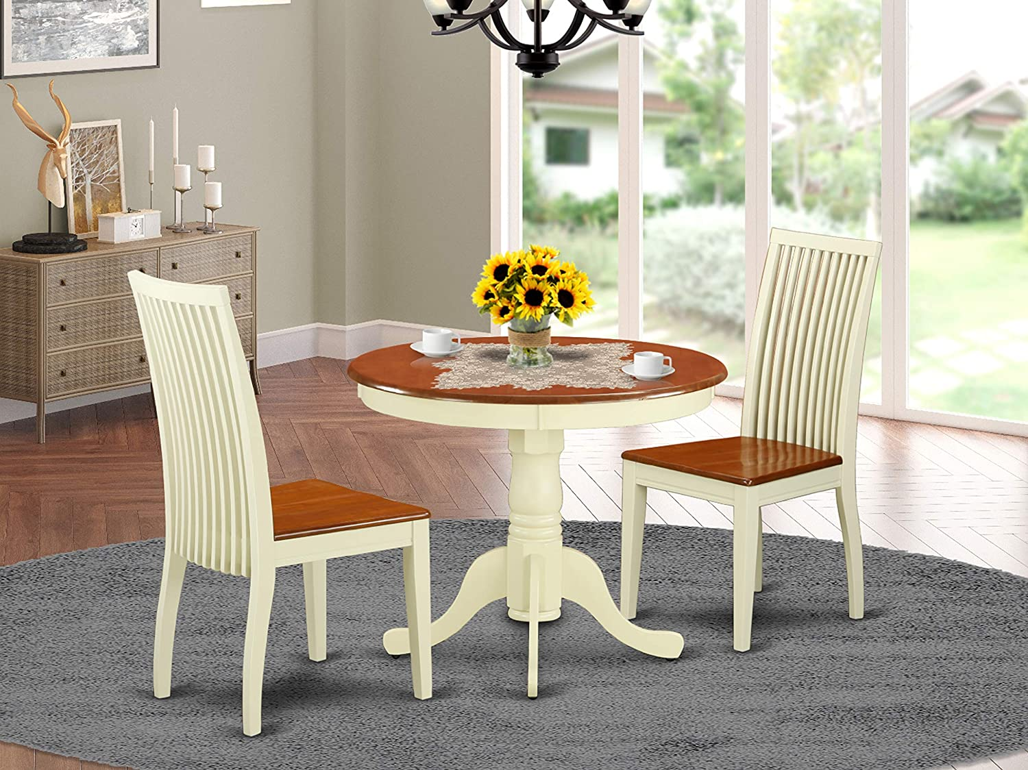East West Furniture Dinette Set- 2 Fantastic chairs for dining room - A Gorgeous round Wooden Dining Table- Wooden Seat and Buttermilk Wood Kitchen Table