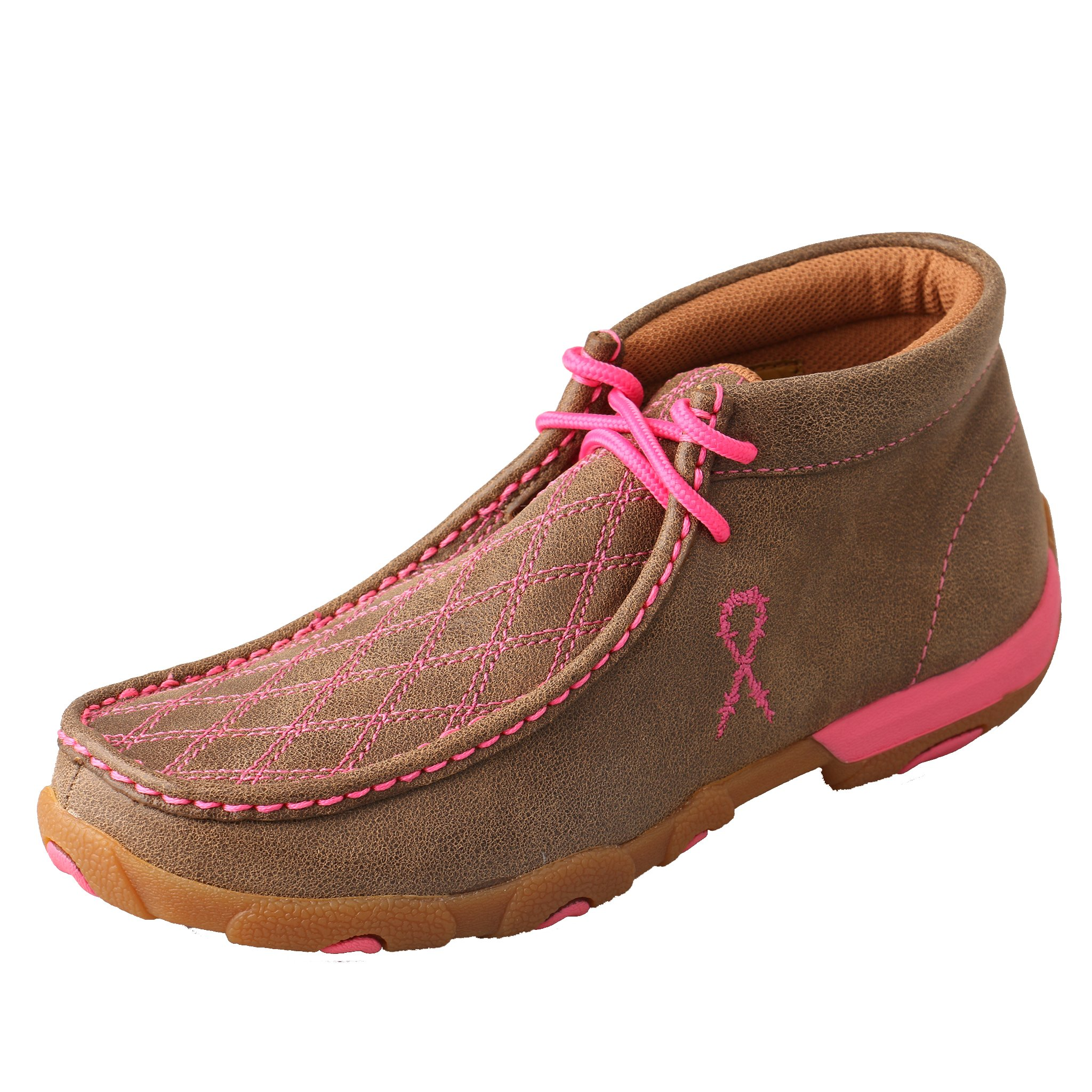 Twisted X Women's Driving Moccasins Bomber/Neon Pink - Stiched Vamp Design Outdoor Footwear 7.5M US
