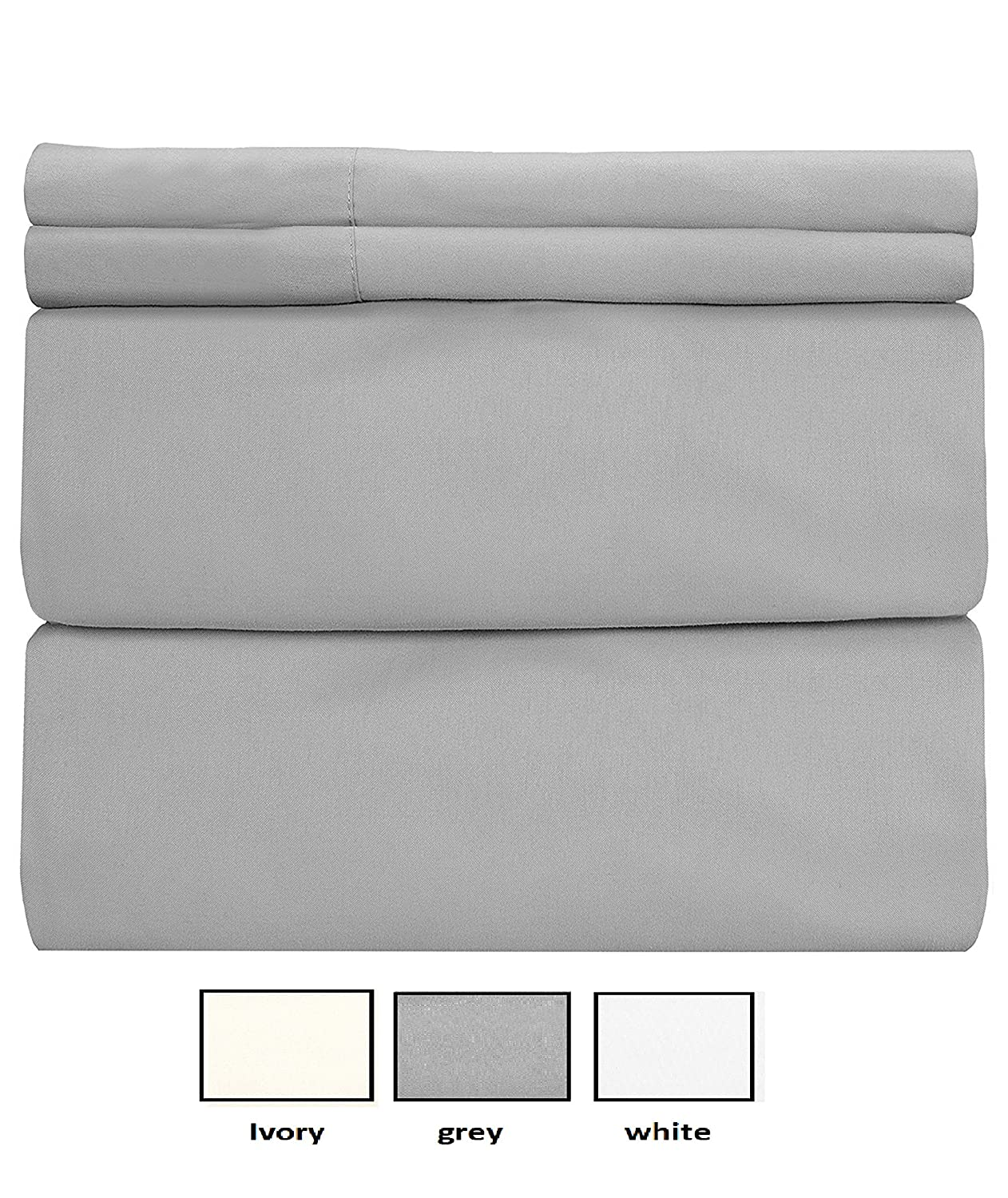 "COT PRINTS 400 Thread Count 100% Cotton Sheet Set, Queen Sheets Set, 4-Piece Long-staple Combed cotton sheets, Bedsheet set, Breathable Soft, Silky Sateen Weave, 14"" deep pocket (Grey)"