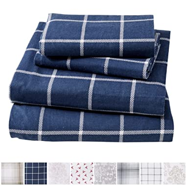 Great Bay Home Extra Soft Windowpane 100% Turkish Cotton Flannel Sheet Set. Warm, Cozy, Lightweight, Luxury Winter Bed Sheets. Belle Collection (Queen, Navy/White)
