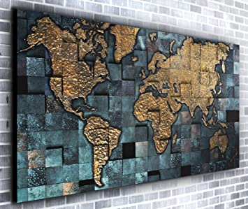 Map of the World Wall Dcor Panoramic Canvas Wall Art Print Framed