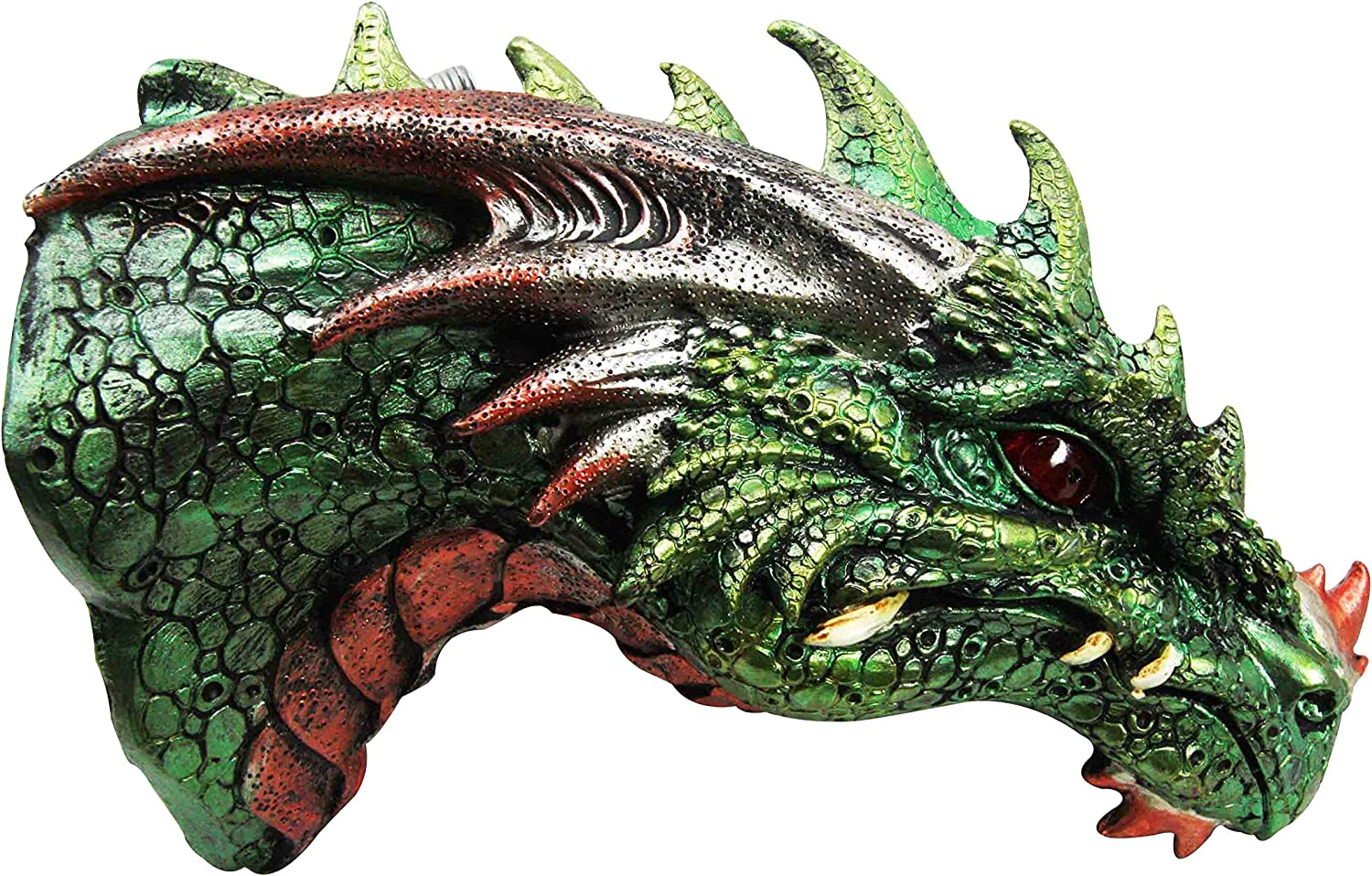 Medieval Castle Dungeon Green Dragon Wall Plaque with LED Illuminated Eyes Sculpture Plaque Home Decor