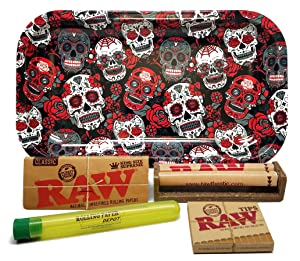 Bundle - 5 Items - RAW King Size Supreme, 110 Roller and Pre-rolled Tips with Rolling Paper Depot Rolling Tray (Skulls) and Doobtube