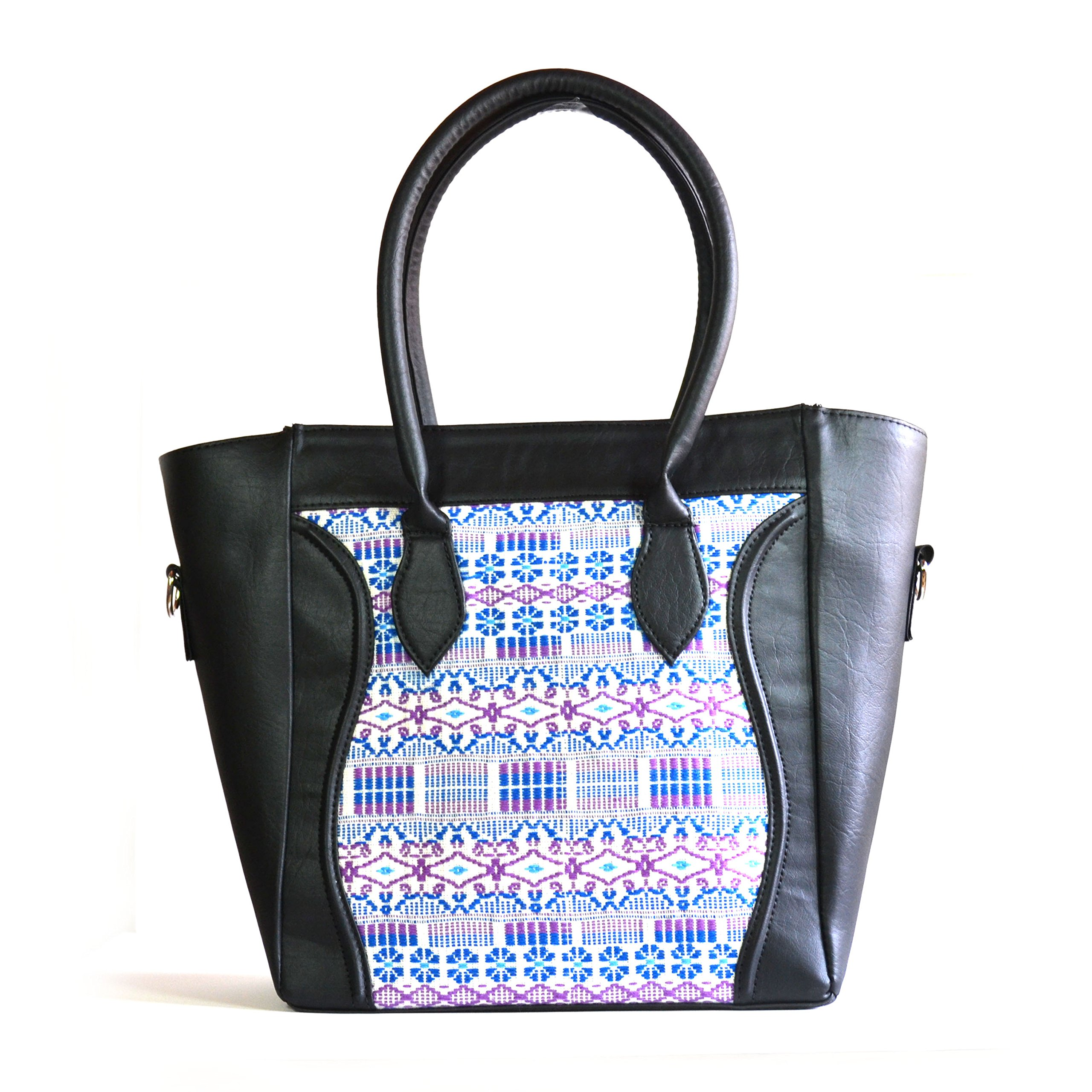 Thelma Davila Designer Handmade Top Handle Leather Handbag :: Handwoven Guatemalan Artisans (Black) by Thelma Davila