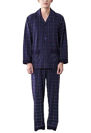 d1b9f08f61 Amhillras Herren Schlafanzug lang Baumwolle Nachtwäsche langärmelig Pyjama  V Ausschnitt Homewear Anzug mit Taschen Knopfleiste