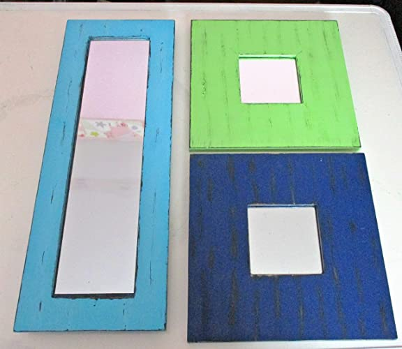 THREE Upcycled Wall Mirrors, Distressed, Modern Colors, Wooden Mirrors, Kids  Room, Nursery Room Decor, Mirror Set, Mirror Collage, Mirror Collection, ...