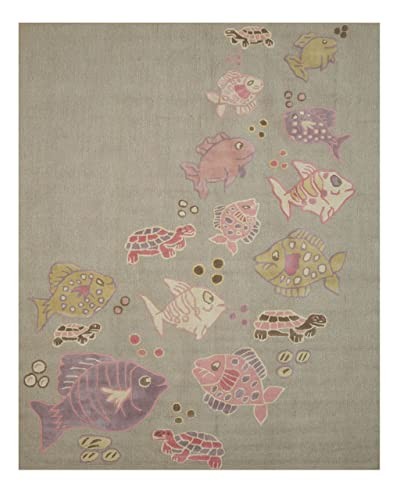 EORC Hand Tufted Wool Kid s Fish Turtle Rug, 2 by 3 , Grey