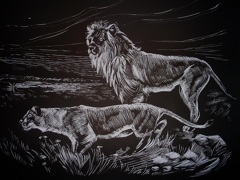 WASO-Hobby Silber *Gro/ß* Afrikanische Tiermotive 4er Scrapy Kratzbilder Set