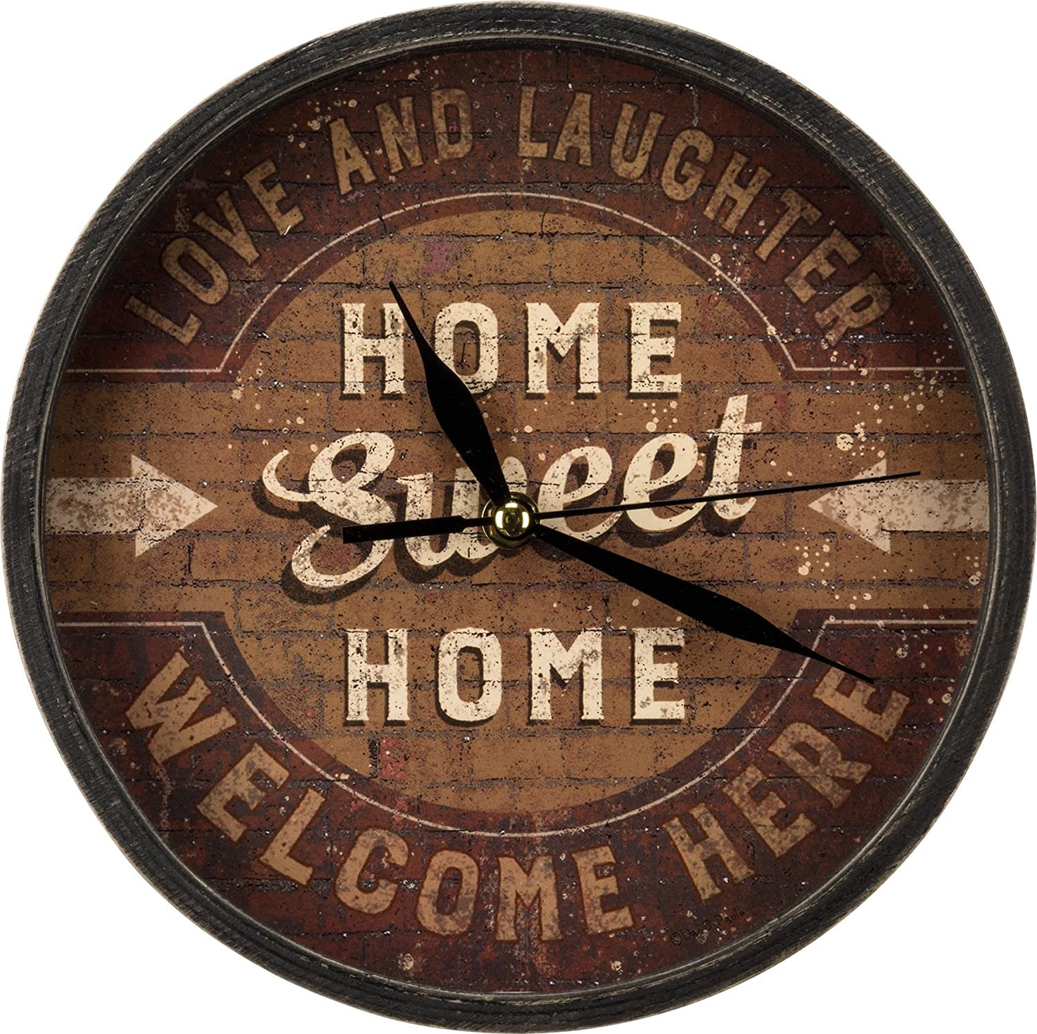 Home Sweet Home Love and Laughter Welcome Here Wall Clock