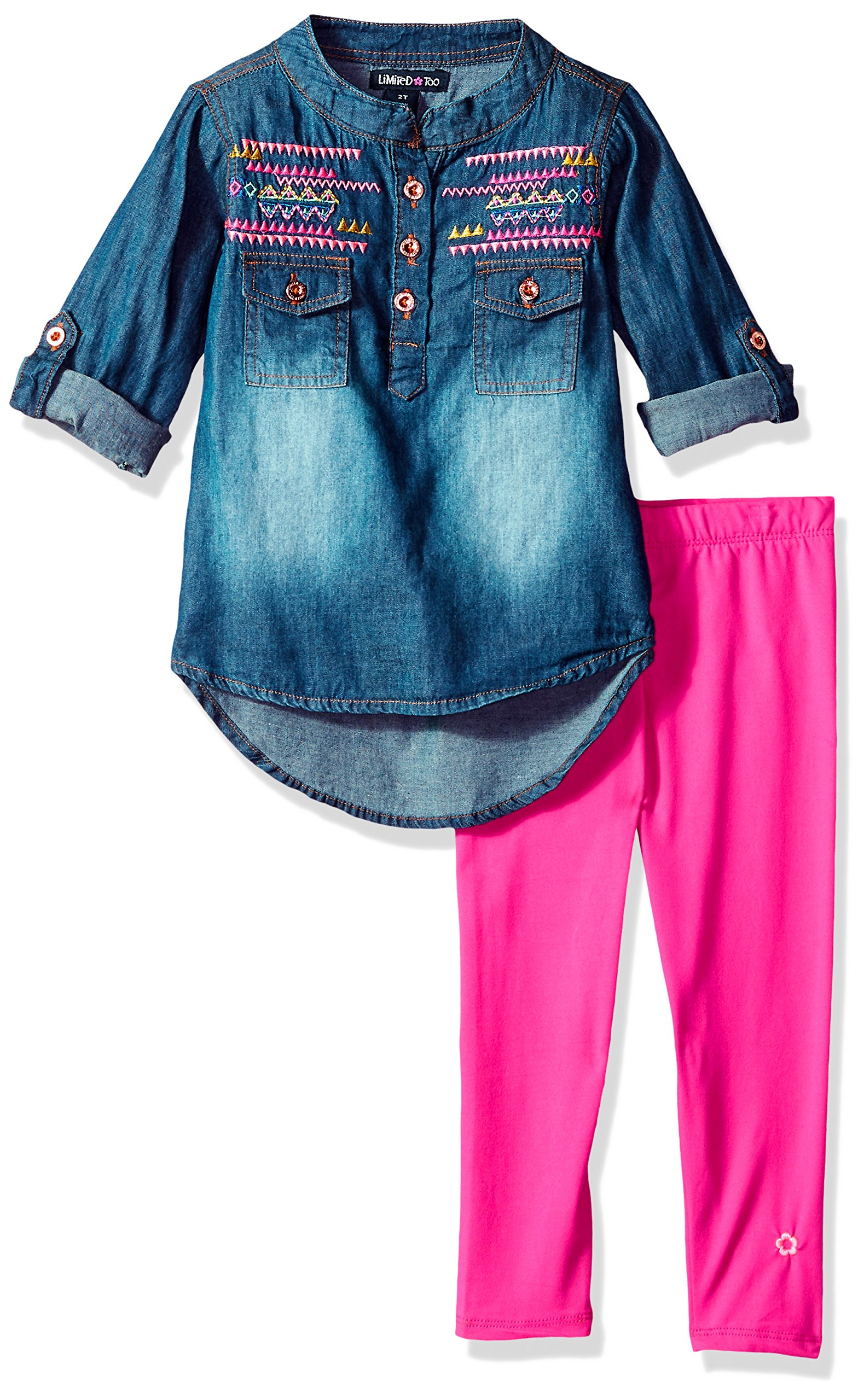 Limited Too Toddler Girls' Fashion Top and Legging Set, Cargo Pocket Top Neon Hot Pink, 3T