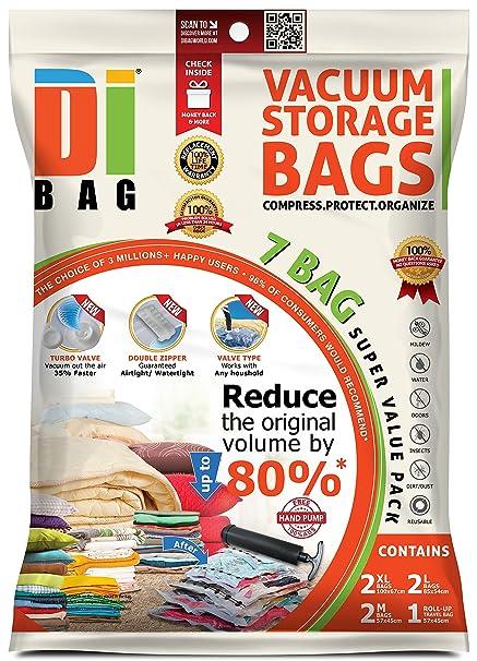 DIBAG 7 Bolsas de almacenaje al vacío de ropa para ahorrar espacio. bolsas ahorradoras de espacio para viaje , 2 MEDIANO , 2 GRANDES Y 2 EXTRAGRANDES ...
