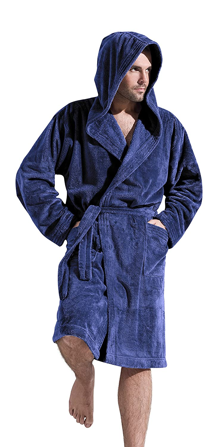 L&L Company Mens' Luxury Soft Warm Dressing Gown Bathrobe With Hood