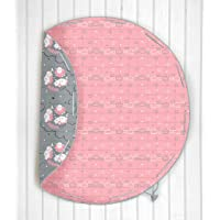 Silverlinen Cotton Counting Sheep Quilted Reversible Playmat/Crawlmat Cum Storage Mat (Pink and Grey)
