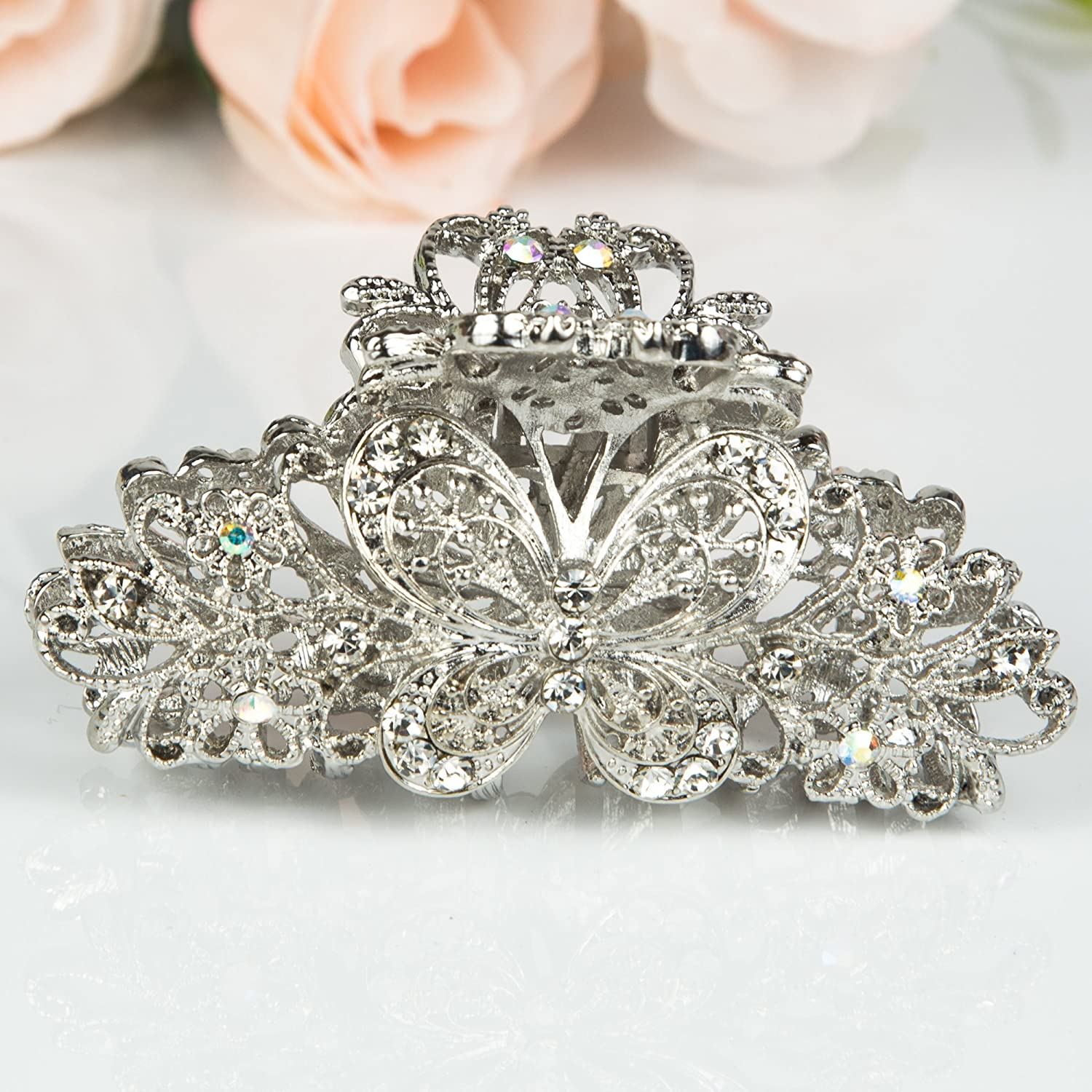 NEW  DESIGN DIAMANTE GLITTERY HAIRCLIP BLING CLAW GRIP BUTTERFLY CLAMP
