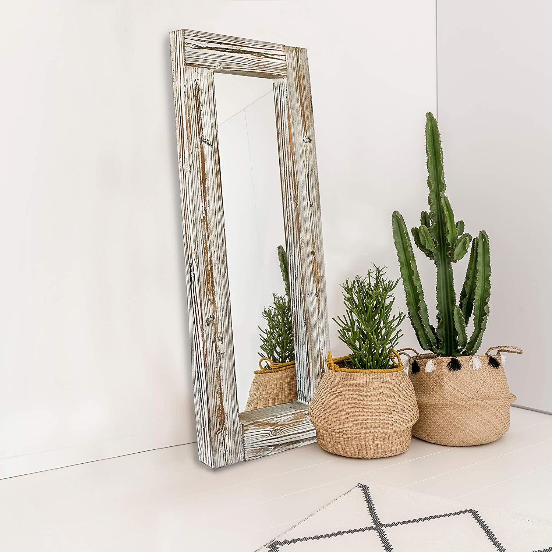 "Barnyard Designs Decorative Long Wall Hanging Mirror Rustic Vintage Farmhouse White Washed Wood Mirror Wall Decor 58"" x 24"""