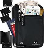 Neck Wallet Passport Holder & Travel Pouch RFID Blocking with 5 Extra Bonus Sleeves