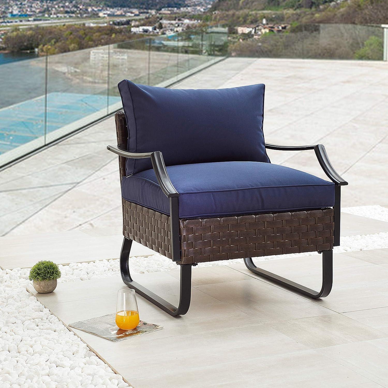 LOKATSE HOME Outdoor Patio Furniture Modern Rattan Wicker Sofa All Weather Steel Frame Chair Conversation Single Armchair with Cushion, Blue