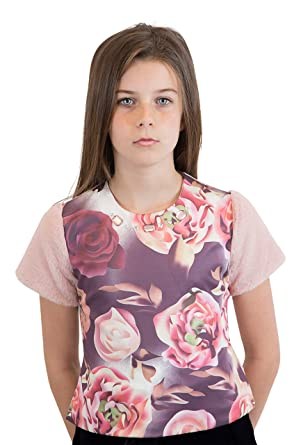 3b5877e0c5 Amazon.com  Nuvo Little and Big Girls Rose Print Top With Short Fur ...