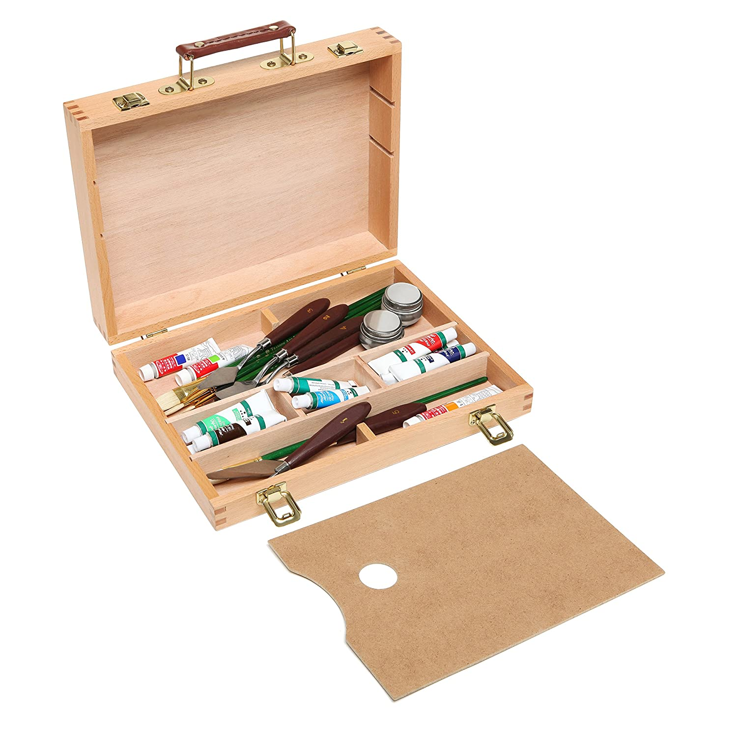 Genial Amazon.com: Top Handle Portable Wooden Arts / Crafts Supplies Storage  Organizer / Artist Carrying Case Box   MyGift