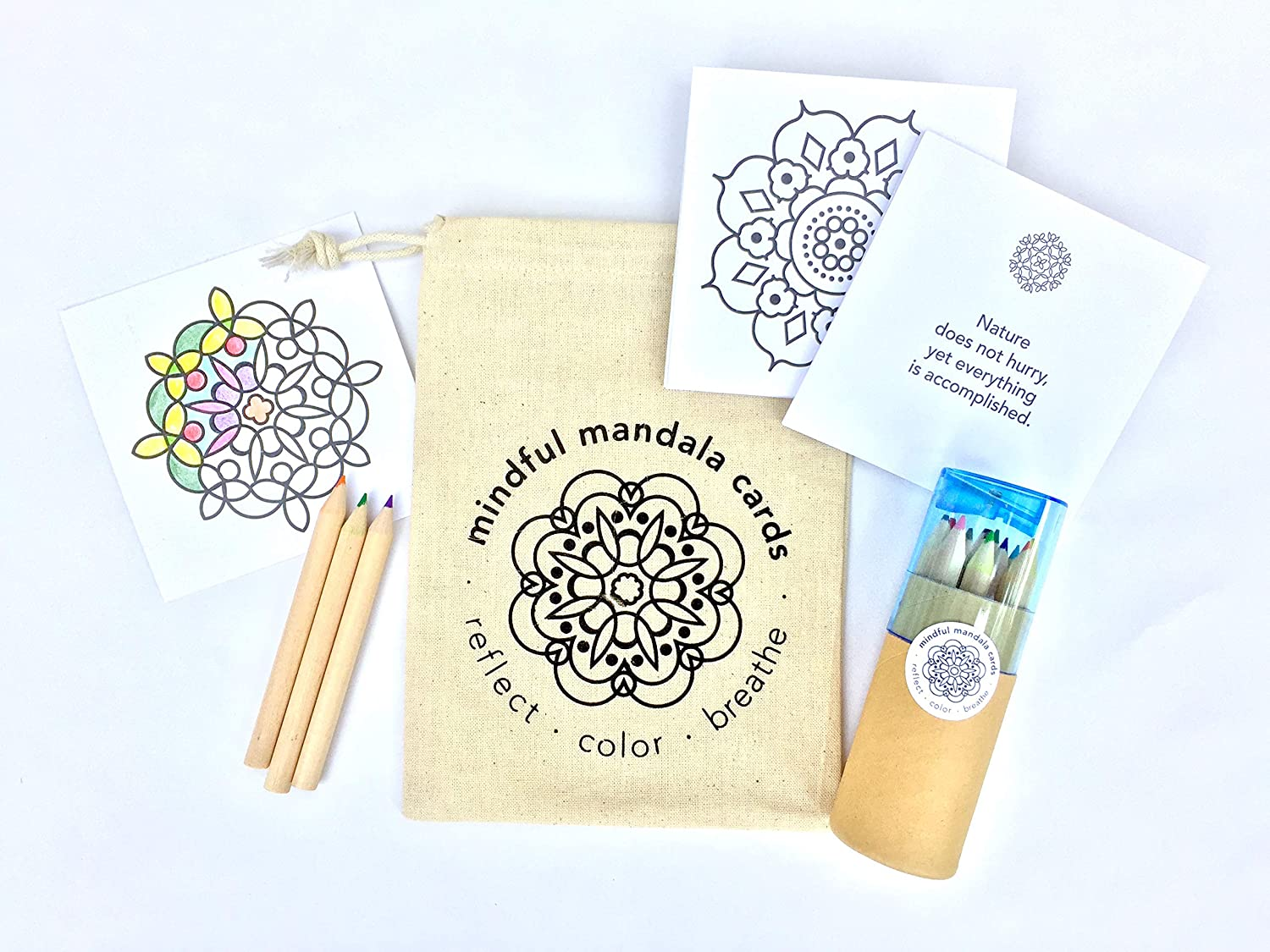 Amazon Com Mindful Mandala Cards With Pencils Set On The Go Mindfulness Coloring Kit With 24 Mandala Coloring Cards Paired With Quotations Plus Tube Of 12 Colored Pencils And Built In Sharpener