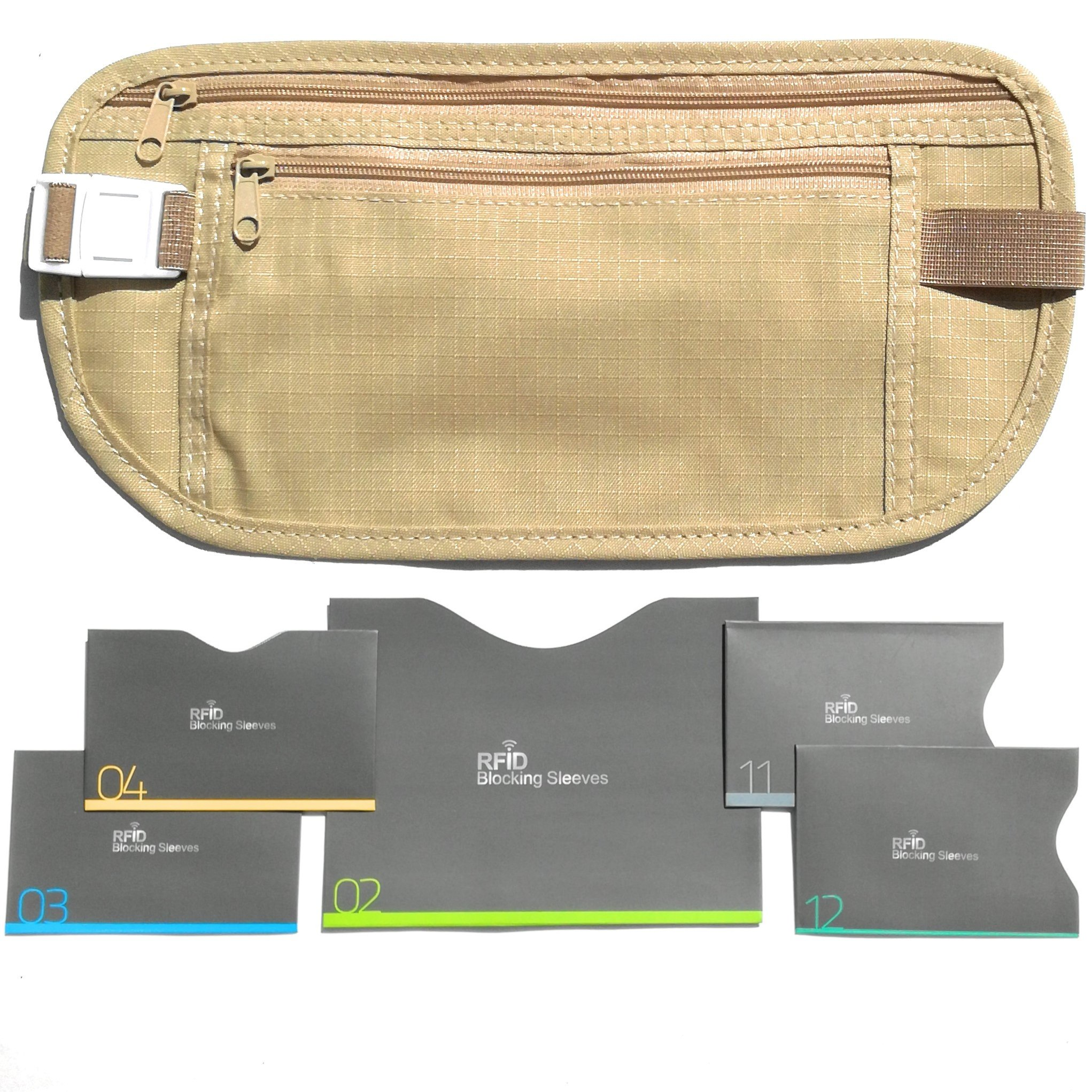 Travel Goodies Money Belt For Travel with RFID Blocking Sleeves For Daily Use (Beige)