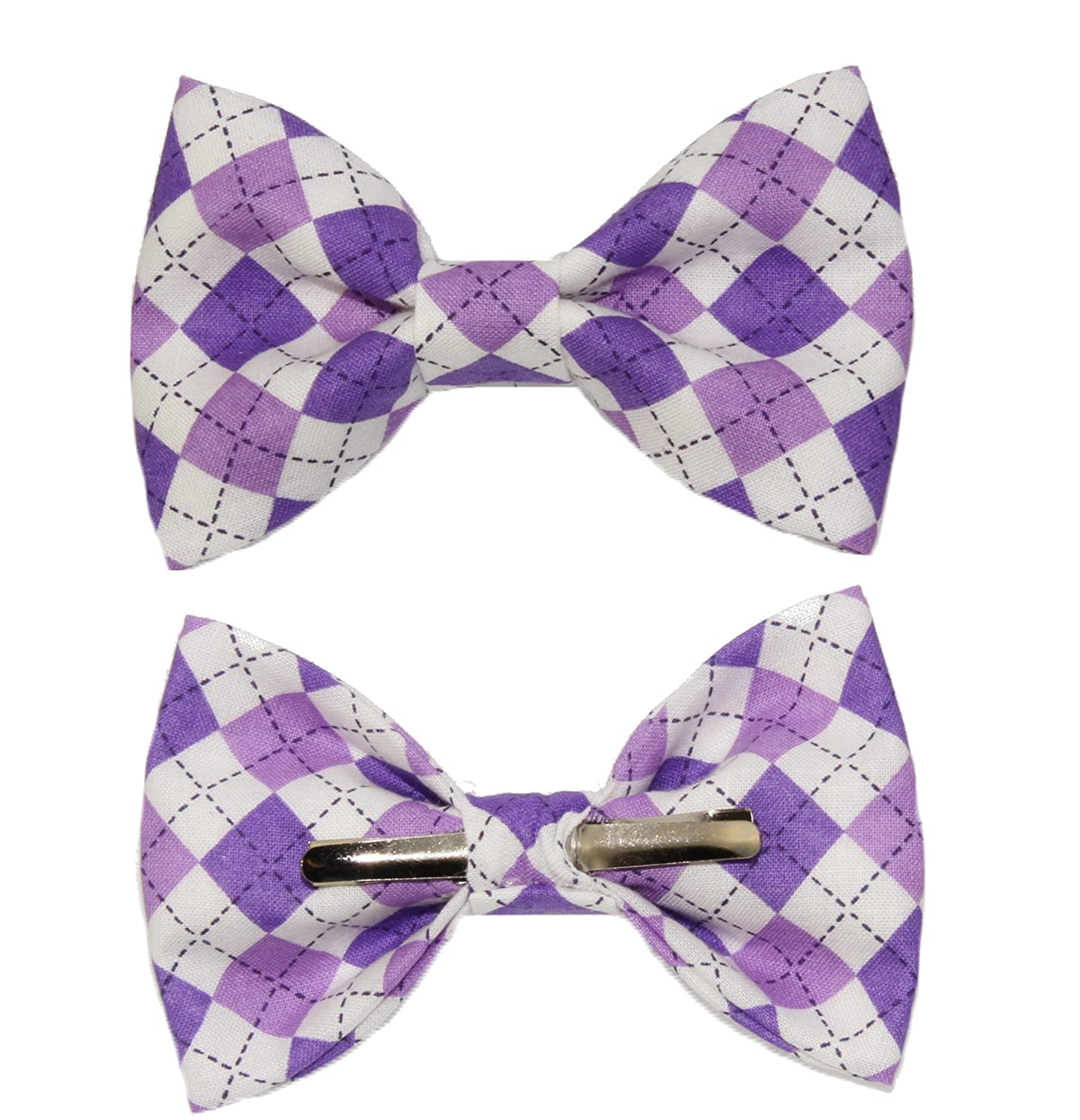 Boys Purple Argyle Clip On Cotton Bow Tie Bowtie by amy2004marie 110454