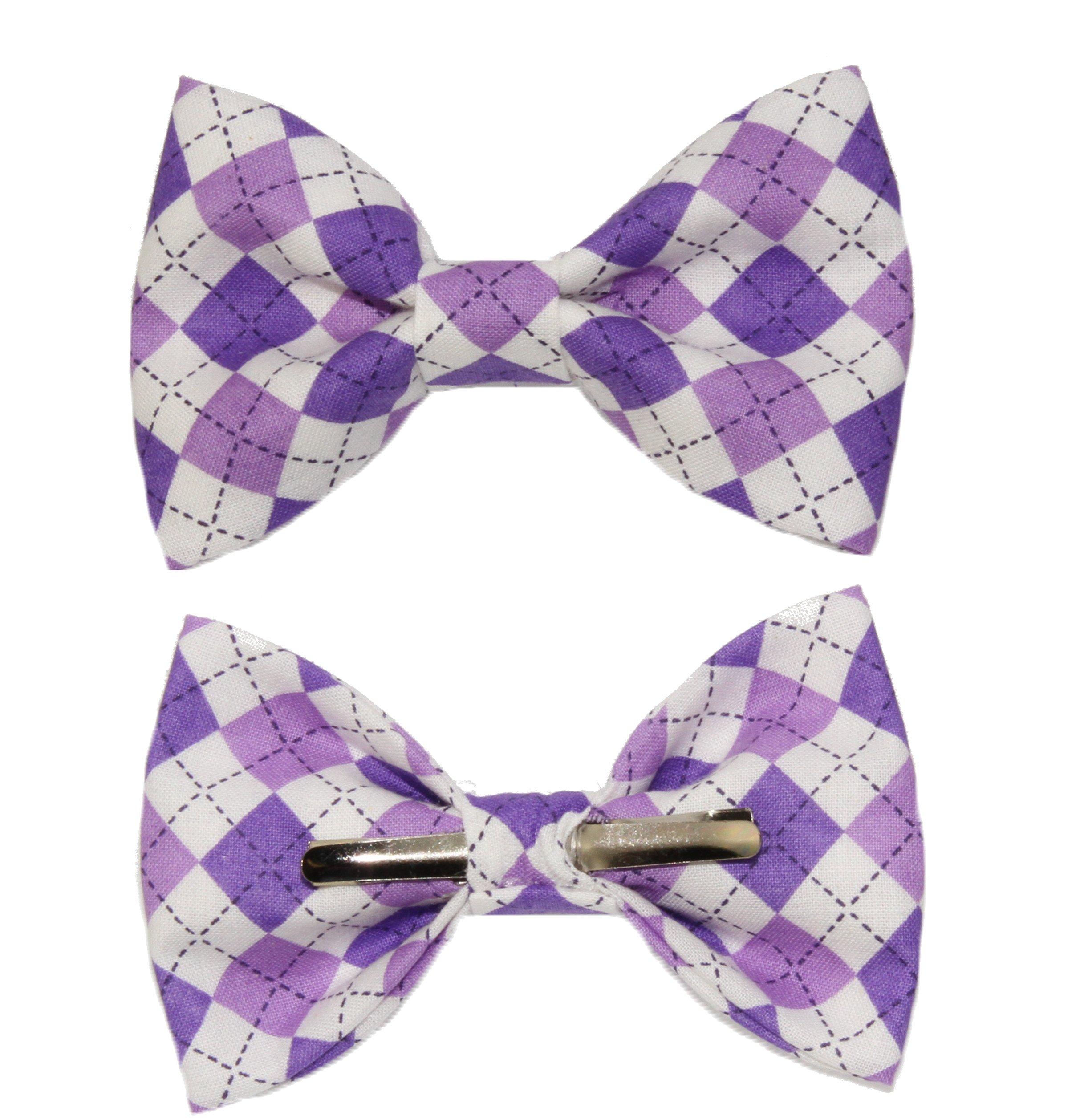 Boys Purple Argyle Clip On Cotton Bow Tie Bowtie by amy2004marie