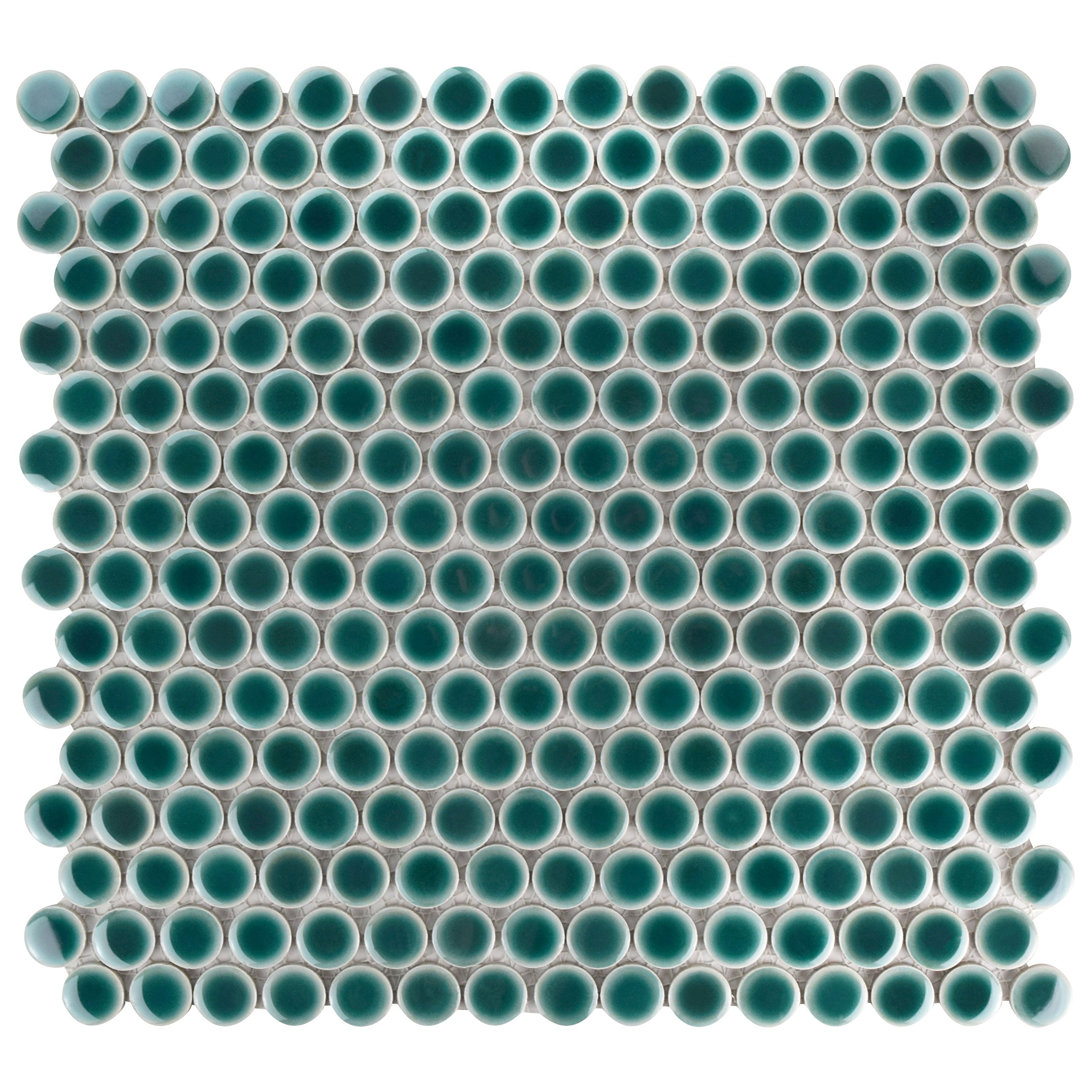 SomerTile FKOMPR30 Penny Porcelain Mosaic Floor and Wall, 12'' x 12.625'', Emerald Green Tile, 10 Piece
