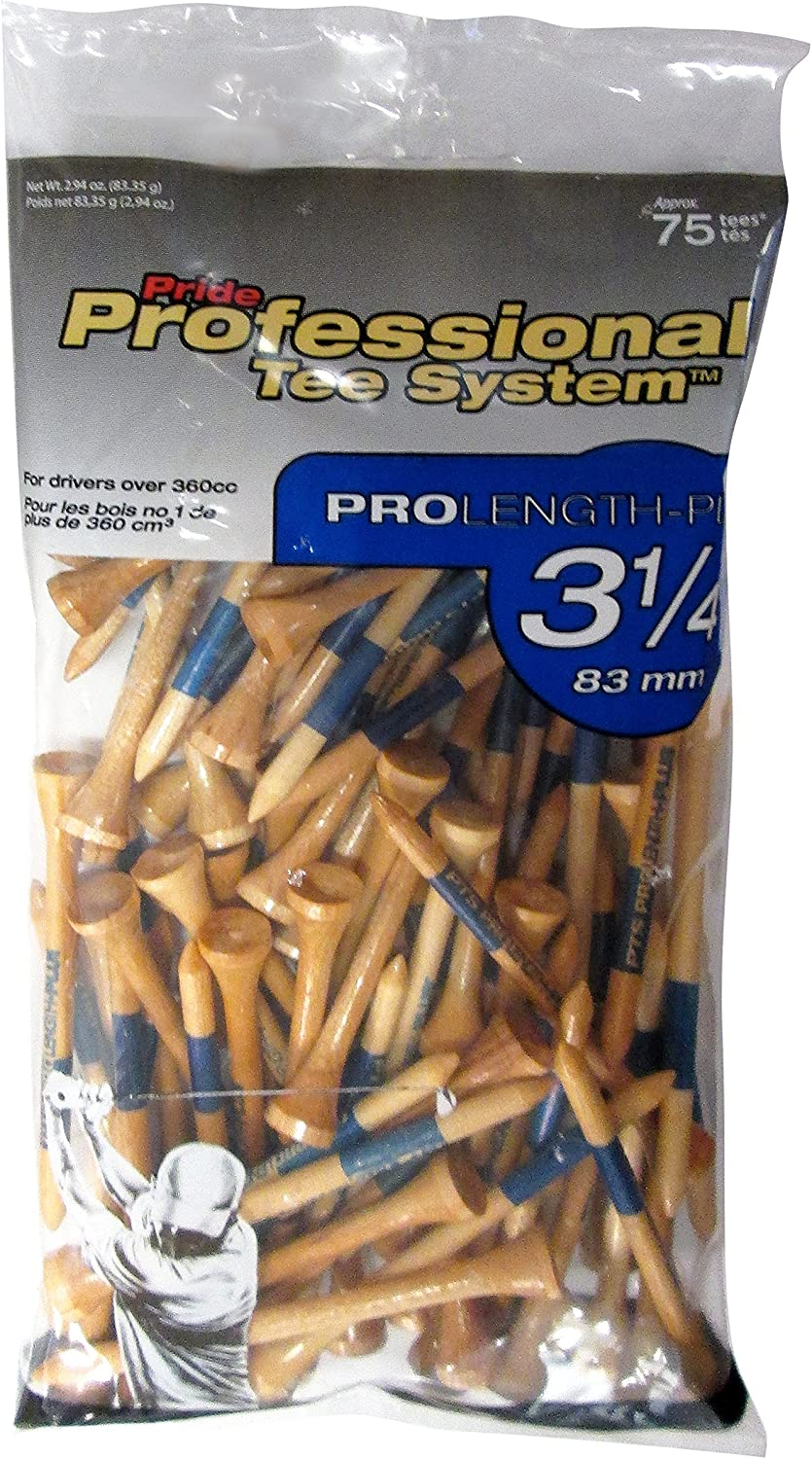 Pride Professional Tee System ProLength Plus Tee, 3-1/4-Inch, 75 Count Bag (Blue on Natural)