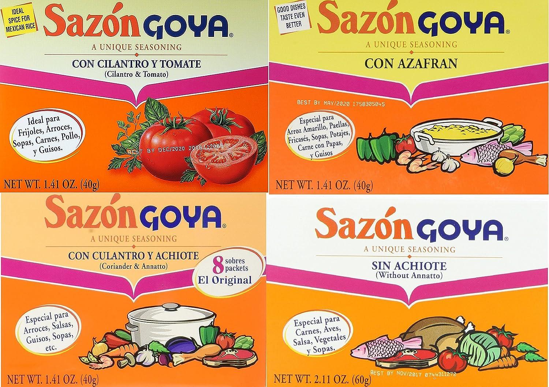 Sazon Goya Unique Seasoning Variety 4-Pack Bundle, Culantro Y Achiote (with Coriander & Annatto),Con Azafran, Coriander and Annatto, Sazon Without Annatto and Cilantro Y Tomate(Cilantro & Tomato)