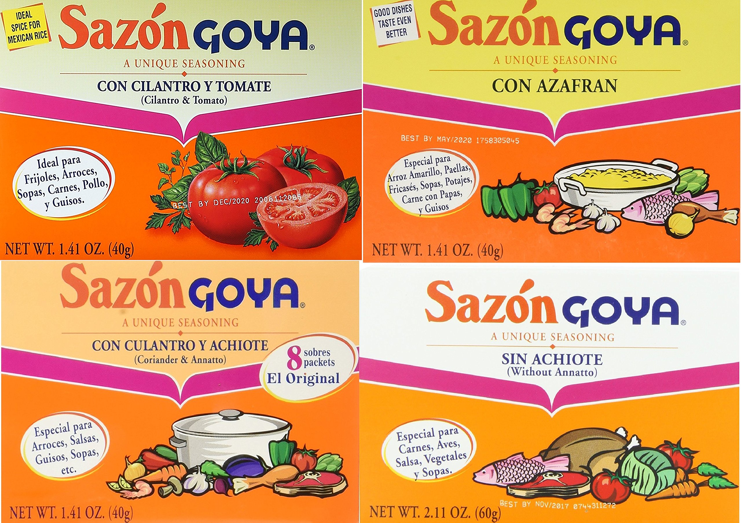 Sazon Goya Unique Seasoning Variety 4-Pack Bundle, Culantro Y Achiote (with Coriander