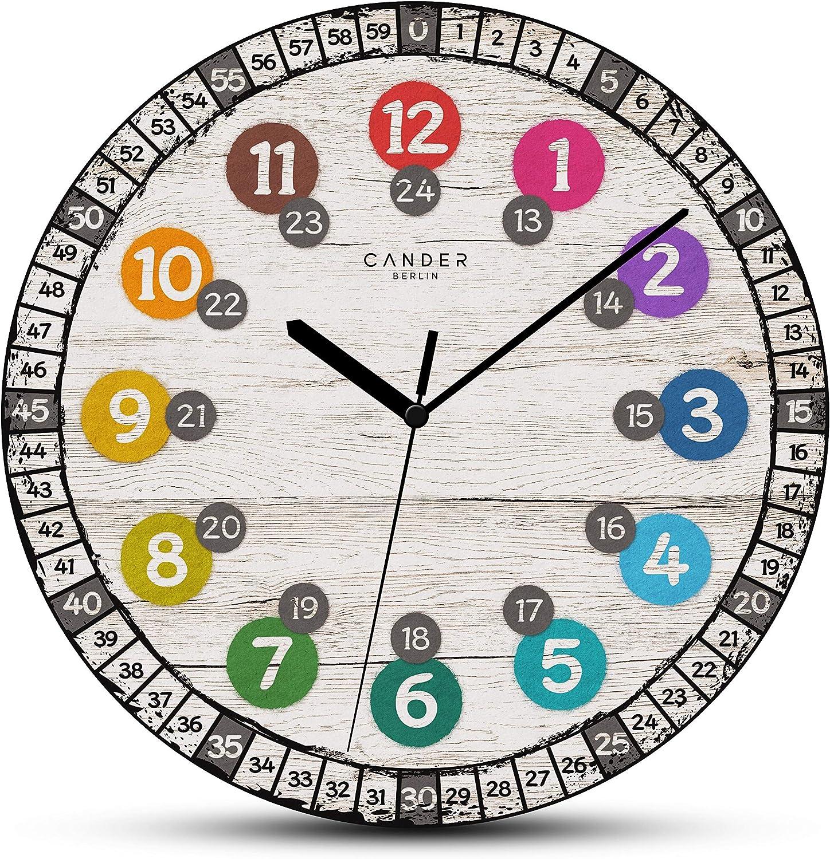 Cander Berlin MNU 7730 - Reloj de pared para niños (madera, silencioso, 30,5 cm, tablero de densidad media, para aprender a leer la hora)