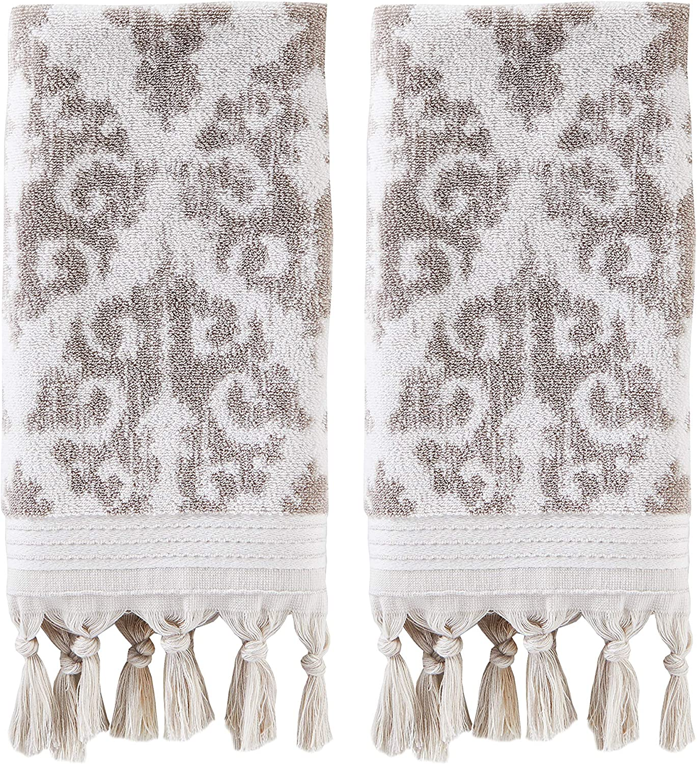 SKL HOME by Saturday Knight Mirage Fringe 100% Turkish Cotton Hand Towel (2-Pack), Taupe