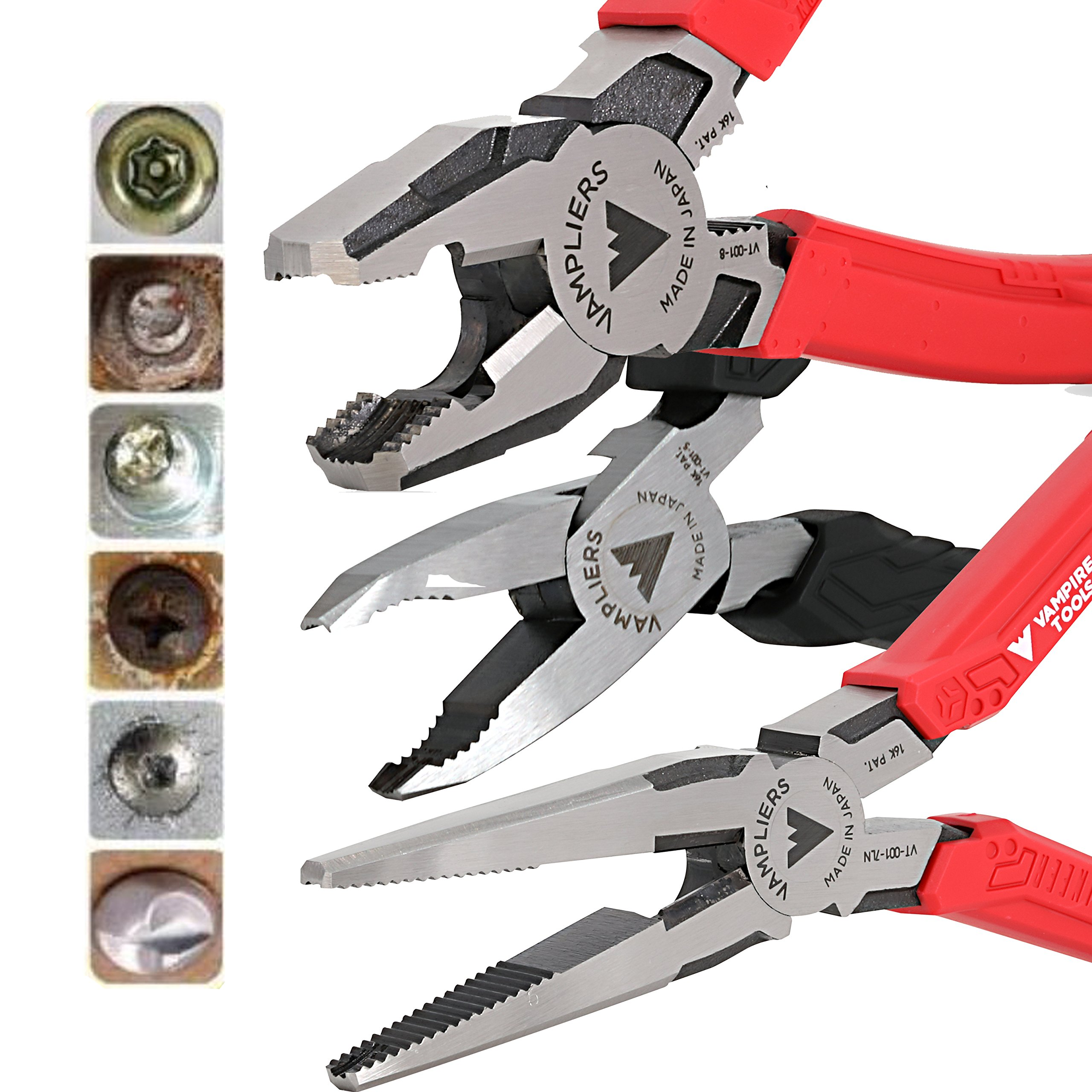 VamPLIERS 3-PC Set S3EP Specialty Screw Extraction Pliers. Extract Stripped Stuck Security, Corroded, or Rusted Screws + Tool Pouch by Vampire Professional Tools International