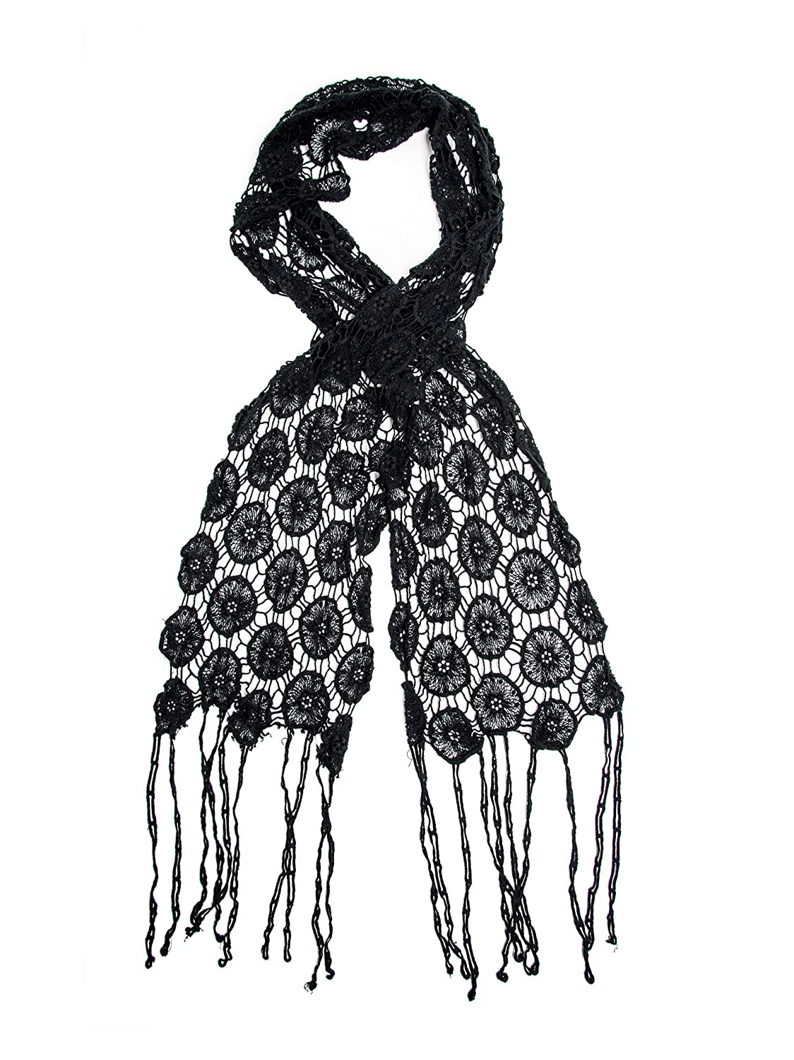 Vintage Scarves- New in the 1920s to 1960s Styles Bohomonde Florence Scarf 100% Cotton Crochet Lace Net Fringe Scarf $12.95 AT vintagedancer.com
