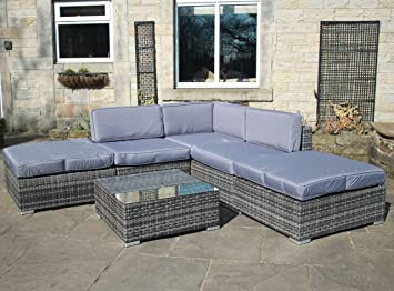 rattan outdoor all weather garden furniture corner sofa set in grey