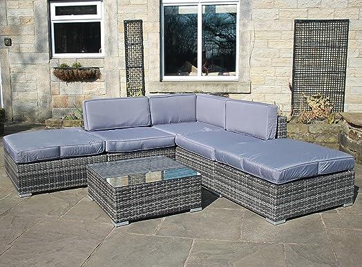rattan outdoor all weather garden furniture corner sofa set in grey - Garden Furniture Corner Sofa