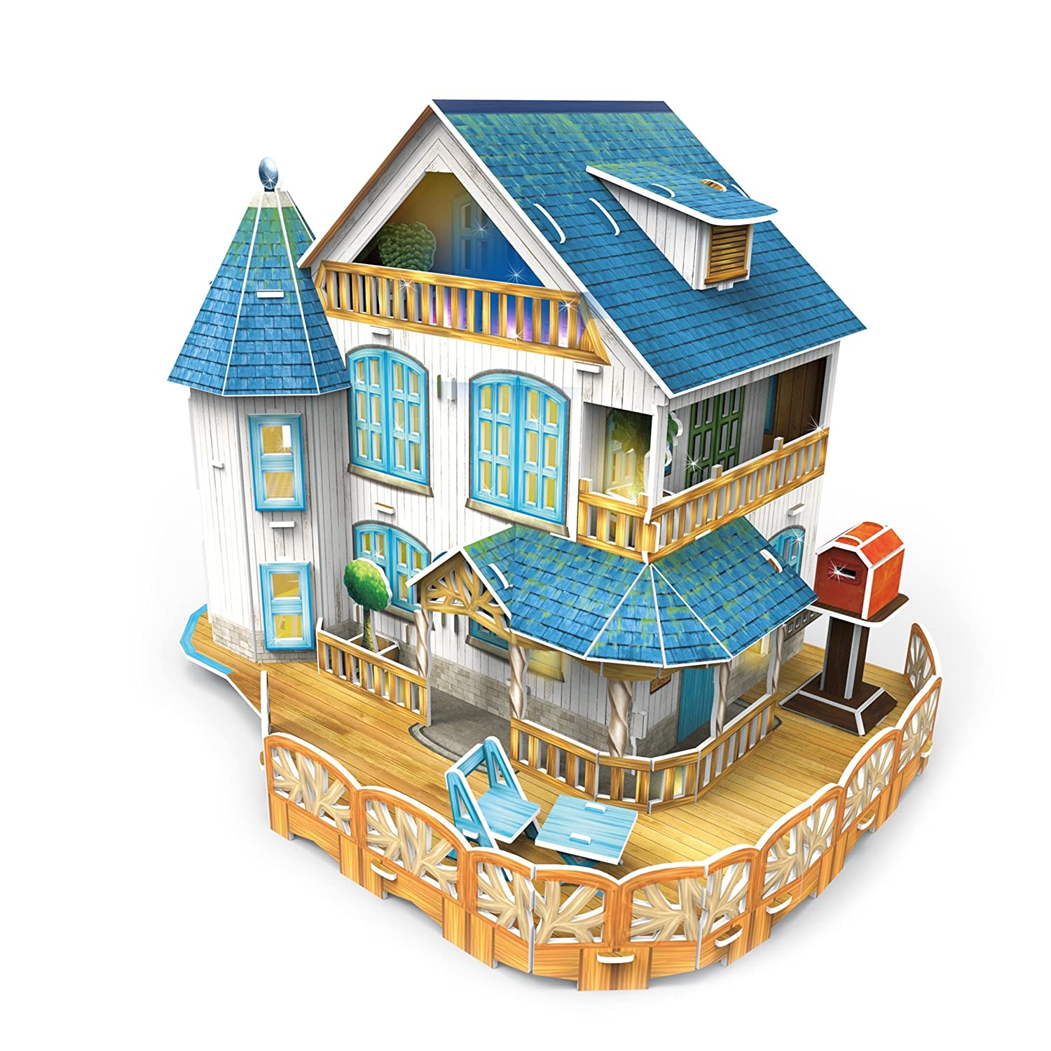 autentico en linea CubicFun Pretty Classic Rural Villa Villa Villa Dollhouse 3D Puzzle Place P635h DIY W LED Lights and furniture Great Holiday gift by 3D Puzzle Place  diseñador en linea
