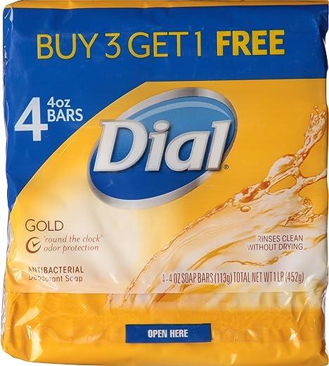 Dial Antibacterial Bar Soap, Gold, 4 Ounce (Pack of 4) Bars