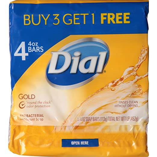 Dial Antibacterial Deodorant Bar Soap, Gold, 4-Ounce Bars, 4 Count