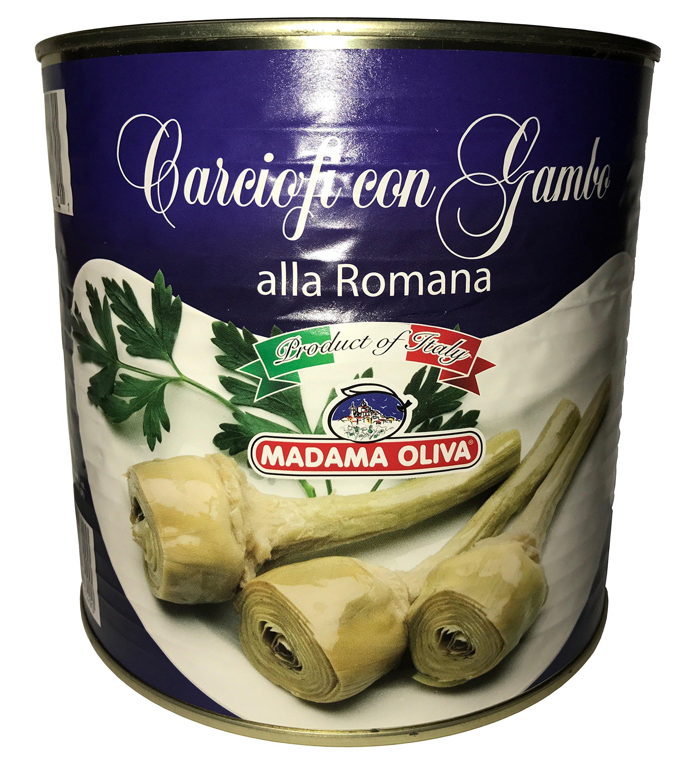 Madama Oliva Artichokes with a Stem Roman Style 5 Lb Net Weight.