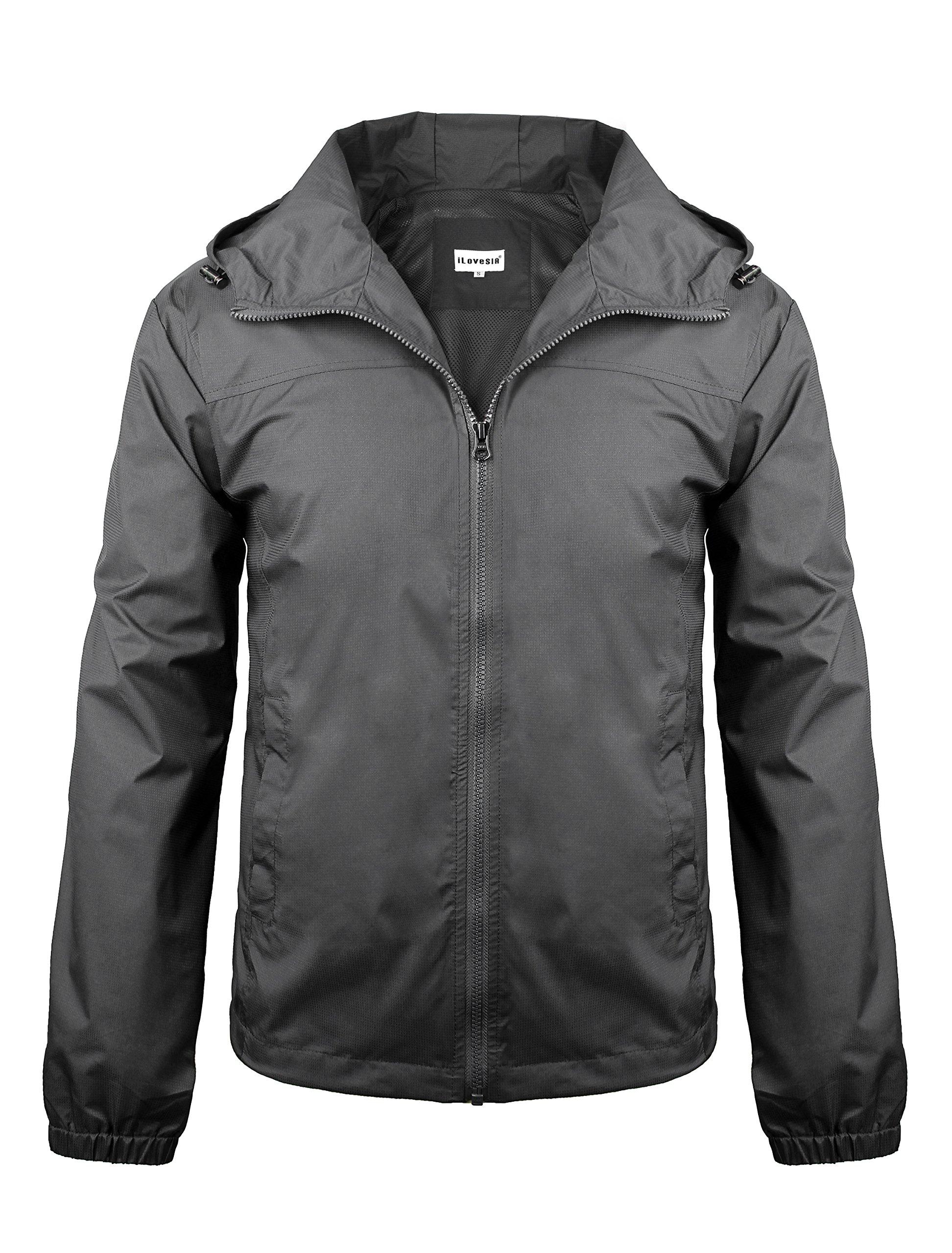 iLoveSIA Men's Lightweight Rain Jacket with Hood Dark Grey Size S by iLoveSIA