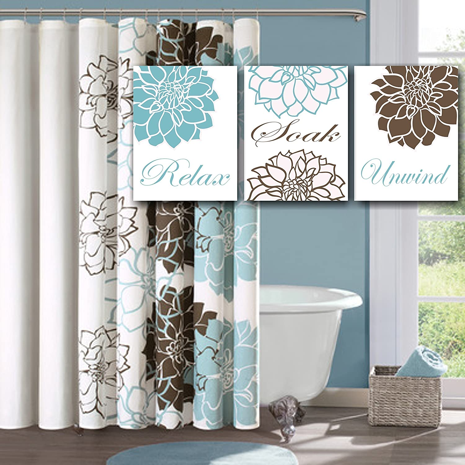 Amazon Com Blue Brown Floral Bathroom Wall Art Teal Brown Bathroom Wall Art Brown Aqua Floral Wall Art Aqua Floral Bathroom Wall Art Unframed Set Of 3
