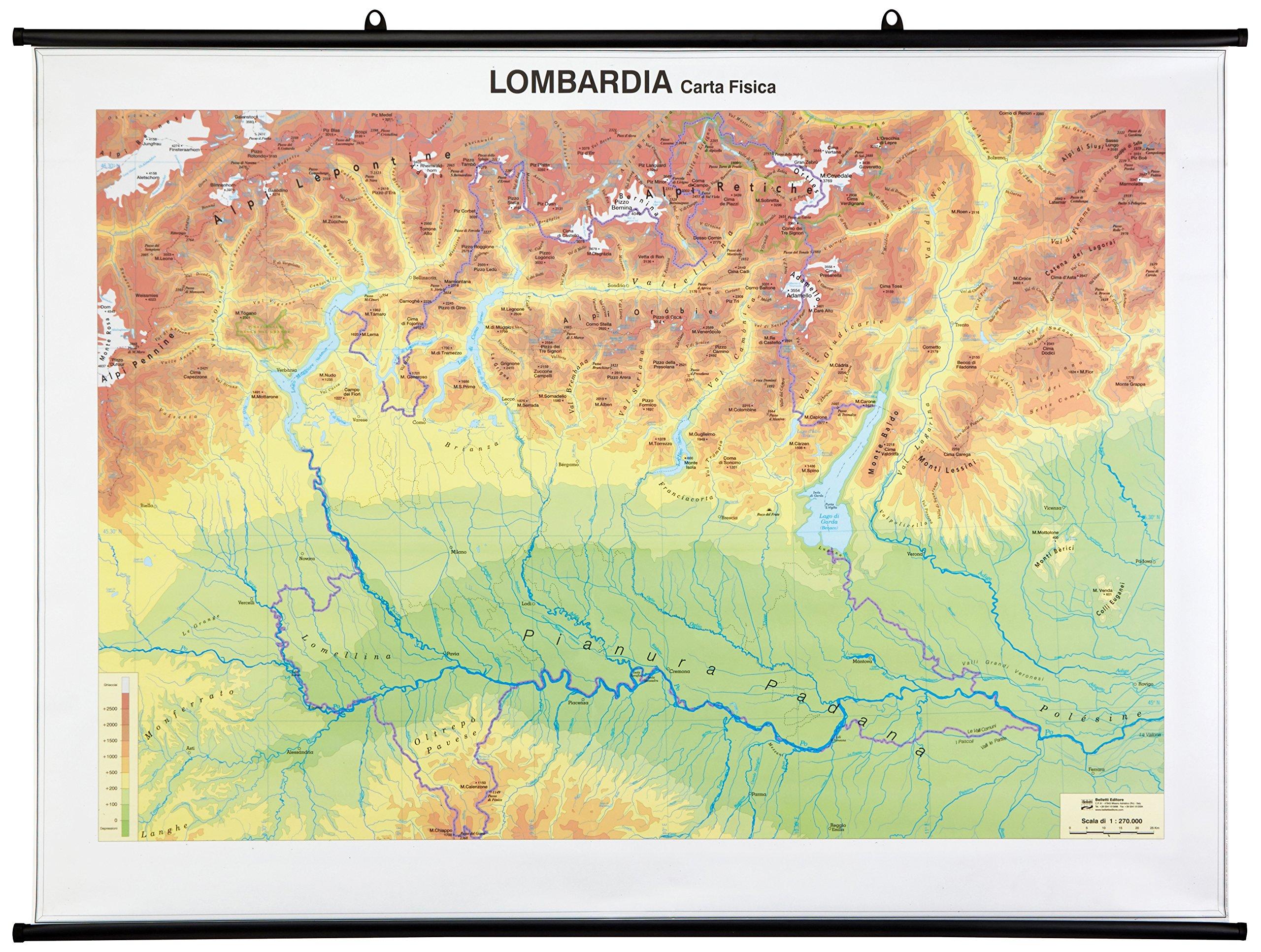 Cartina Fisico Politica Lombardia