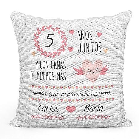 AR Regalos Cojín Original Aniversario de Novios de Lentejuelas Reversibles (Oro Rosa)