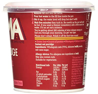 MOMA Foods Porridge Plain Pot, 70g: Amazon co uk: Grocery