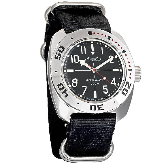 Vostok Amphibia NATO NEGRO Ruso Genuino Militar Diver 200 WR Mecanico Reloj de cuerda automatico 710647: Amazon.es: Relojes