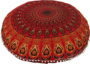 """Anokhiart 32"""" Cotton Round Floor Pillow Cover Red Indian Mandala Pillow Cover Cushion Cover Ottoman Pouf Cover"""